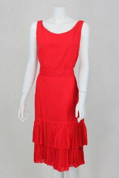 60's red party dress by Miss Elliet California