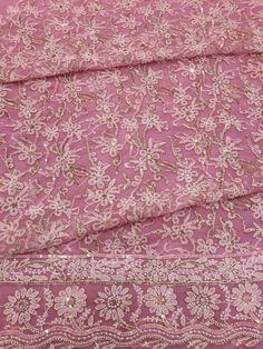 Lucknavi Chikan Pink Georgette Suit Length with fine sequence work, cutdana work, silver beads, zardozi work & ari work with designer daaman #chikankari $64.5