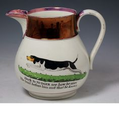 Staffordshire Pottery | Antique Staffordshire pottery luster decorated pitcher with the dog ...