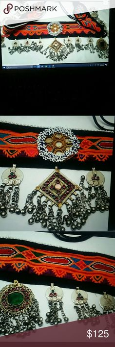 Boho ethnic Festival Fringe belt beads Jewels Bell Unique boho ethnic waist hip belt. Ties on. Adorned with beads metal stones and Bones. Sings when you walk. Great boho look for long skirts. 34 inch length before ties. One smaller mirrored piece in the center of the beaded circle is missing. Otherwise this is new I bought it myself but have never worn it. Super Unique Piece Accessories Belts
