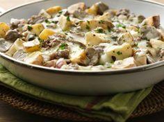Easy Mushroom and Ground Beef Skillet: use fresh mushrooms & potatoes and homemade cream of mushroom, and I saute chicken instead of beef.