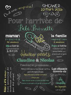 Affiche personnalisée de Shower Bébé arrive! (vert) | 28,00$ #chalkboard #lacraieco