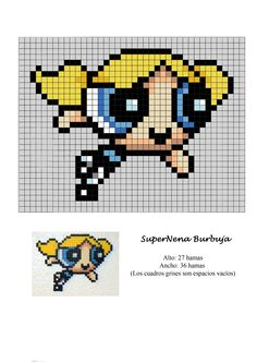 Powerpuff Girls Bubbles hama perler beads pattern