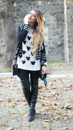 leggings heart sweater maxi cardigan white black boots hair blonde long