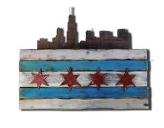 Chicago Flag Skyline Distressed Wood Sign