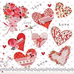Cute Valentines Hearts with Roses Paper Napkins for Decoupage valentines decoupage project on this  paper napkin. Use for all your decoupage projects.  Buy your decoupage supplies at Decoupage Designs USA