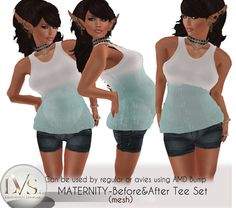 [LVS&CO]BEFORE&AFTER MATERNITY-TANK&SHORT SET TEARS