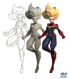 Dinsai Fan art Captain Marvel concept design by Chanin s sculpt & render by Dongk produce by Dinsai inspired by Captain Marvel 3d Model Character, Female Character Design, Character Modeling, Character Design Inspiration, Comic Character, Character Concept, Concept Art, Character Design Animation, Character Design References