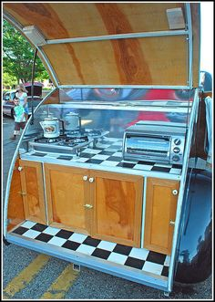 Antique teardrop camper