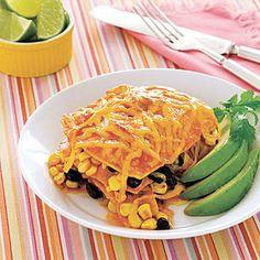 Slow - Cooker Enchilada Casserole (swap cheese for Daiya) #vegan
