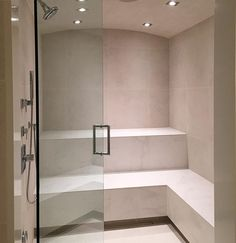 Now that's a steam room shower. Steam Bathroom, Steam Room Shower, Sauna Steam Room, Sauna Room, Bathroom Spa, Sauna Design, Indoor Swimming Pools, Workout Rooms, Bath Decor