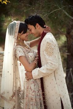 lovely indian bride in white lengha with groom in sherwani #weddingclothes @bridalHQ