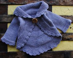 Baby Girl Clothes - Purple 100% Wool Pinwheel Cardigan for Infant Girls Size 6 to 12 Months Hand Knitted Baby Girl Clothing