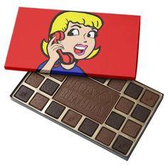 Telephone Girl Comic Strip Box of Chocolates--#chocolates #comics #cartoon #retro #happybirthday #popart #thankyou