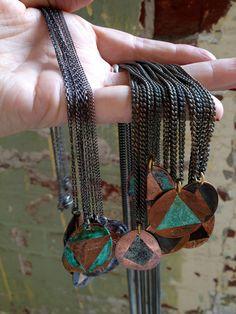 geometric railroad penny necklace