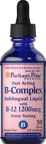 Puritans Pride Vitamin BComplex Sublingual Liquid with Vitamin B122 fl oz Liquid >>> Read more at the image link. (This is an affiliate link) #VitaminsSupplements