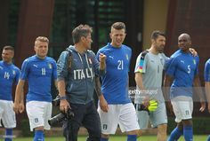 Claudio Villa and Federico Bernardeschi attend for a team photo ahead of the 2016 UEFA Euro 2016 at Coverciano on June 1, 2016 in Florence, Italy.