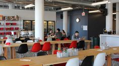 Twilio's 150-person team is based in San Francisco, in an office designed by architect Sarah Willmer and Twilio's in-house design team. The vibe is functional and professional, yet laid-back — the 40,000 square-foot space has more than 25 couches, an oversized kitchen, custom murals and a wet bar.
