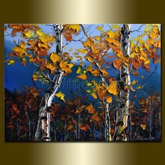 Original Textured Palette Knife Landscape Painting Oil on Canvas Contemporary Modern Tree Art Autumn Birch 12X16 by Willson Lau