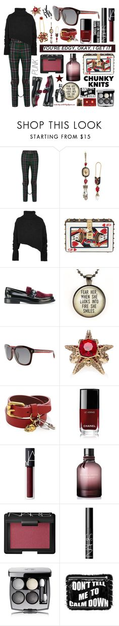 """YOU'RE EDGY, OKAY, I GET IT!"" by curekitty ❤ liked on Polyvore featuring Gucci, Alexander McQueen, Ann Demeulemeester, Sonia Rykiel, Dolce&Gabbana, Joshua's, Chanel, NARS Cosmetics, Bottega Veneta and Doriane van Overeem"