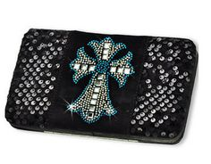 Western Blue Cross Design Black Wallet #country #cowgirl #accessories #fashion #popular #womens #style #trendy #purse #bling #hunting #3d #boutique #buckle #western #religious #turquoise