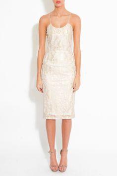 CreamLace cord Strap Midi Dress