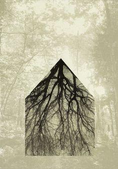 Piia Lehti: Ohuista oksista on minun kotini rakennettu / My Home Has Been Built of Thin Twigs, 2015, silkscreen on plywood, 50 x 35 cm
