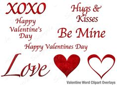 Valentine Word Overlays or Text Clip art for photos or invitations in gorgeous Red Velvet Lettering Valentine Words, Valentine Day Love, Ftm, Diy Home Crafts, Word Art, Appetizer Recipes, Design Elements, Red Velvet, Free Design