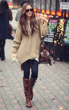 large pullover - boots - shoes - bag - love - cool - autumn