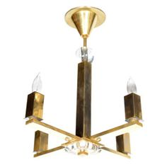 Art Deco Modernist Brass Chandelier Designed by Jacques Adnet