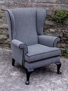 Parker Knoll wingback chair Black and white houndstooth Parker Knoll Chair, Knoll Chairs, Wingback Chairs, Chair Upholstery, Chair Fabric, Upholstered Furniture, Armchairs, Black And White Chair, Contemporary Chairs