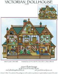 Victorian Dollhouse - Cross Stitch Pattern by Joan Elliott Model stitched on fabric of your choice with DMC floss. Stitch Count: 248 x Cross Stitch House, Cross Stitch Kits, Cross Stitch Charts, Cross Stitch Patterns, Victorian Dolls, Victorian Dollhouse, Modern Dollhouse, Dollhouse Ideas, Victorian Houses