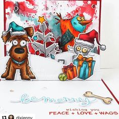 #Repost @dixjenny with @repostapp ・・・ Tim Holtz meets Lawn Fawn Christmas. jenniferds.blogspot.com #therubberbuggy #lawnfawn #timholtz #distressink #copicmarkers #cardmaking #papercrafts