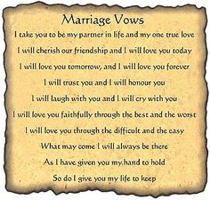 Love this!!  Marriage Vows and Ceremony parchments