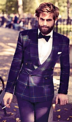 Go ahead and break up a suit. Take some risks with your jacket or pants. Just remember to maintain a sense of balance between your top and bottom halves. If you go bold on top with a pattern (like this plaid) or a color (white, midnight blue) or a texture (velvet) balance it out with something basic down below.