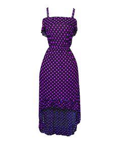 Love this Black & Purple Polka Dot Sleeveless Hi-Low Dress - Women by Bonmode on #zulily! #zulilyfinds