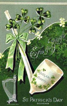 Afbeeldingsresultaat voor Erin go Bragh Vintage Cards, Vintage Postcards, Vintage Images, Happy St Paddys Day, Saint Patricks Day Art, Irish Blessing, Irish Celtic, Irish Eyes, Irish Traditions