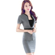 54eea0b254f Fashion Summer Short sleeve work wear office uniform designs women plus  size skirt suit OL summer slim ladies suits formal set