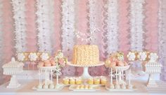 Lovely feminine set up with Ruffled Edged Hobnail Cake Stand, Vintage Pink Compotes , and Vintage Pink Candy Box Compote with Lid #ido #glassybaby