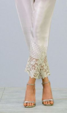 Elegent White Silk Cigarette Pants Purchase here by KaamdaniCouture on Etsy – New York City Fashion Stylespant detail Silk Embroidered Cigarette Pants Straight to pair with kurta Salwar Pants, Beaded Jacket, Salwar Designs, Pants For Women, Clothes For Women, Legging, Mode Hijab, Pakistani Outfits, Indian Designer Wear