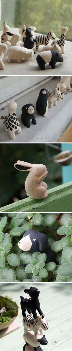 日本t-lab工作室手工制作的动物木玩 -so sweet.