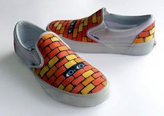 """Check out these awesome """"peek a boo"""" Slip-On's made by Vans Custom Culture ambassador artist Sasha Barr in support of art education."""