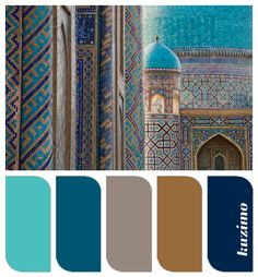 Turquoise, teal, taupe, caramel, navy