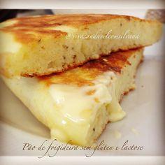 """""""Pão de frigideira sem glúten e lactose  Essa é uma receita prática para consumir pães saudáveis, pela textura e sabor. RECOMENDO!!!…"""""""