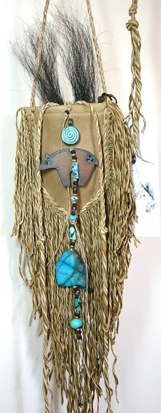 Native Spirit Bear Fetish Totem Leather Medicine by JillClaireArt, $120.00