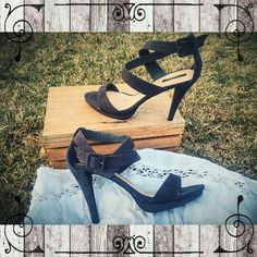"""Forever 21 faux suede ankle strap sandals Very nice condition Forever 21 dark grey ankle strap stiletto sandals. Faux suede material. 4.5-5"""" heel. Too high for me, and a bit narrow for my pinkie toes! So sad because I LOVE these!   #forever21 #greysandals # graysandals #stiletto #stilettos #stilettosandals Forever 21 Shoes Sandals"""