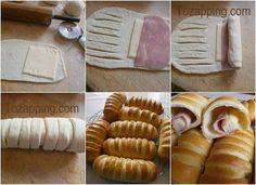 Flauta salada con jamón y queso. Ideal para los niños,dale a tu familia algo diferente y rico,muy fácil y rápida de preparar.Flauta salada con jamón y queso