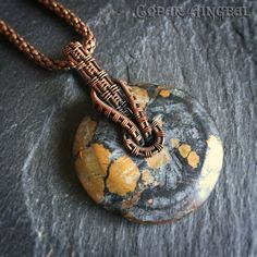 Chinese Turquoise Donut in Oxidized Copper - Interlock Bail - Grey and Mustard Wirewrapped Pendant - Necklace Chain Included