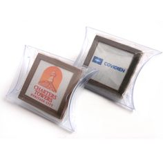 Milk Chocolate Square with an edible image of your personalised #promotional message, #logo or #branding customised onto the promotional product for maximum effect and visual appeal then packaged into a pillow pack, great for trade shows, conferences, cafes and restaurants, hotels, promotional giveaways.