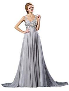 Ikerenwedding Women's Double V-neck Rhinestone Straps Bridesmaid Evening Dresses Grey US8 Ikerenwedding http://www.amazon.com/dp/B015NUAHIG/ref=cm_sw_r_pi_dp_r01awb00M9ZFZ
